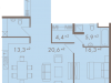"Схема квартиры в проекте ""Chehov (Чехов)""- #1772474715"