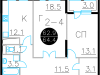 """Схема квартиры в проекте """"Дом на Нагатинской""""- #412539696"""
