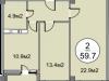 """Схема квартиры в проекте """"Дом на Садовой""""- #129481435"""