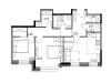 """Схема квартиры в проекте """"Городской квартал Big time""""- #1160526081"""