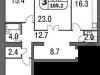 """Схема квартиры в проекте """"на Московской""""- #2101072369"""
