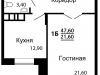 """Схема квартиры в проекте """"На семи холмах""""- #1390084488"""