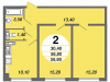 "Схема квартиры в проекте ""Нахабино Ясное""- #1692746019"