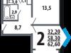 """Схема квартиры в проекте """"Новые Ватутинки. Центральный квартал""""- #1344812920"""