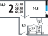 """Схема квартиры в проекте """"Новые Ватутинки. Центральный квартал""""- #1537663658"""