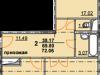 """Схема квартиры в проекте """"Огни Коломны""""- #293013536"""