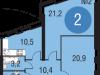"""Схема квартиры в проекте """"Олимпийская деревня Новогорск. Квартиры""""- #282127283"""