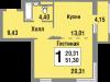 """Схема квартиры в проекте """"Татьянин Парк""""- #83746223"""