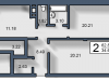 """Схема квартиры в проекте """"Вишневый""""- #2108036036"""