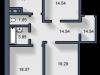 """Схема квартиры в проекте """"Вишневый""""- #1619418085"""