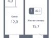 """Схема квартиры в проекте """"Жилой микрорайон Первый Зеленоградский""""- #115745778"""